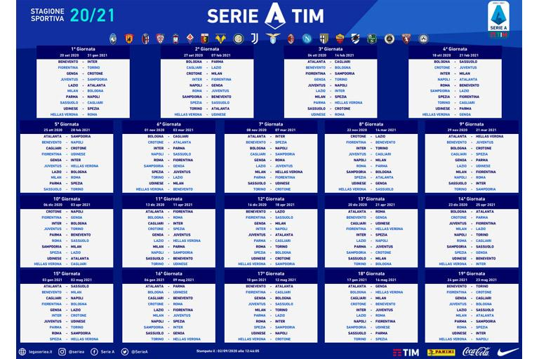 Stampa Calendario Serie A 2021 22 CALENDARIO SERIE A TIM 2020/2021 | News | Lega Serie A